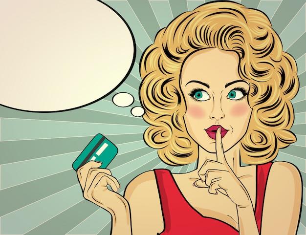 Blonde frau im pop-art-stil