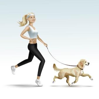Blonde frau mädchen weiblich joggen mit hund