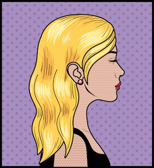 Blonde frau pop-art-stil