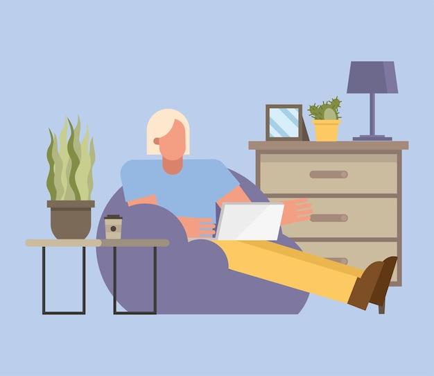 Blonder mann mit laptop, der an puf vom hauptdesign des telearbeitsthemas vektorillustration arbeitet