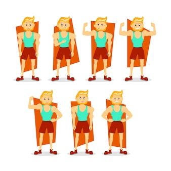 Blonder muskelmann stellte illustration ein, muskulöser kerl im cartoon-stil, der in verschiedenen posen steht, mit verschiedenen gesichtsausdrücken, emotionen, aktionen. fitnessmodell, bodybuilding. charakter-design.