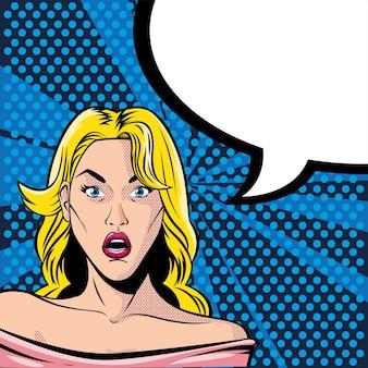 Blondes frauengesicht überrascht mit sprechblase, art pop-art-illustrationsdesign