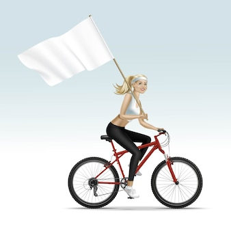 Blondes frauenmädchen, das ein fahrrad mit flagge reitet