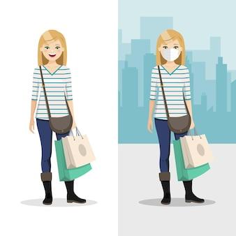 Blondes haar frau mit zwei einkaufstüten mit maske und ohne maske