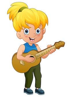 Blondes mädchen, das gitarre lokalisiert auf weißem hintergrund spielt