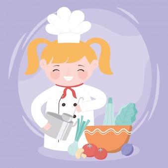 Blondes mädchen des küchenchefs mit topf und frischem essen in der schüsselkarikaturfigur
