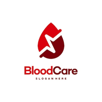 Blood care logo-designs, blut mit pulssymbol-symbolvektor