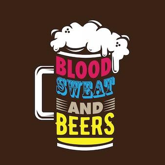 Blood sweat & beers typografie