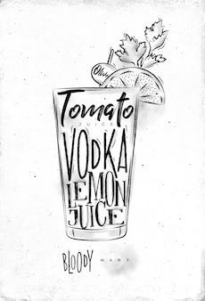 Bloody mary cocktail mit schriftzug