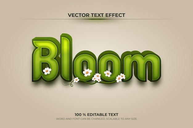 Bloom bearbeitbarer 3d-texteffekt mit blume