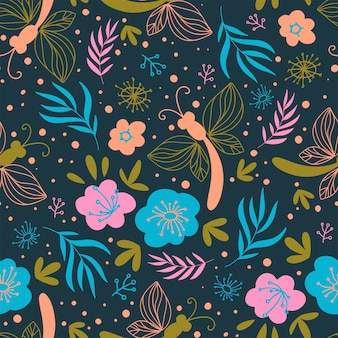 Blossom fabric nature flower print nahtloser mustervektor