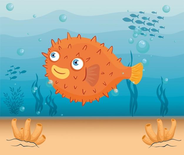 Blowfish meerestier im ozean, meeresweltbewohner, niedliche unterwasser-kreatur, unterwasserfauna