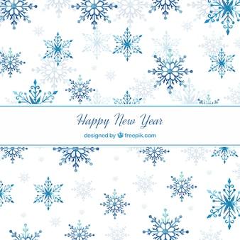 Blue aquarell neujahr 2018 hintergrund mit schneeflocken
