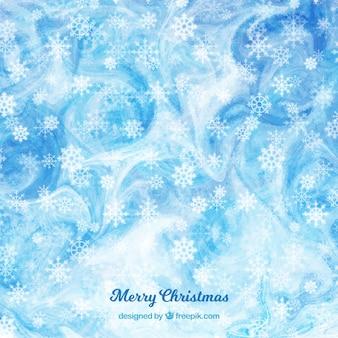 Blue aquarell weihnachten hintergrund mit schneeflocken