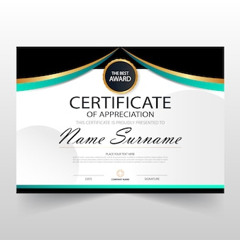 Blue black elegant horizontale zertifikat mit vektor-illustration