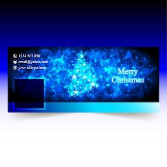 Blue christmas facebook cover mit sternen baum und sternen bokeh hintergrund