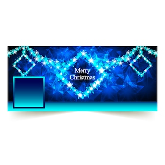 Blue christmas facebook cover mit sternen sqaure rahmen