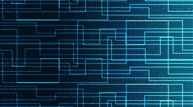 Blue circuit microchip auf technologischem hintergrund, high-tech-digital- und sicherheitskonzept
