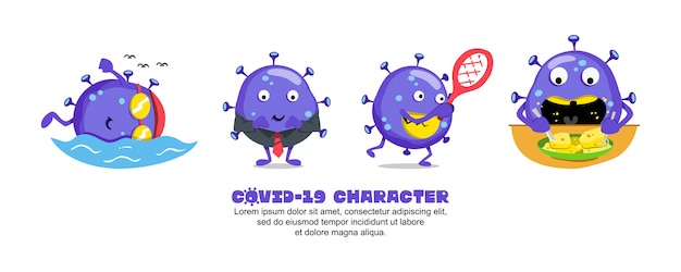 Blue covid-19. coronavirus cartoon inspirationsdesign. schwimmen, business, tennis und futter
