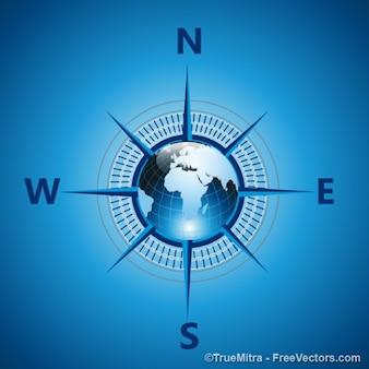 Blue earth compass vector