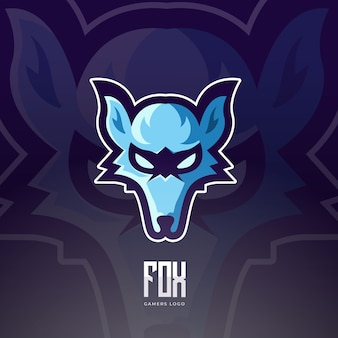 Blue fox maskottchen esport logo design