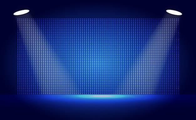 Blue führte kinoleinwand und scheinwerferlicht