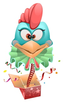 Blue head rooster clown springt aus der box