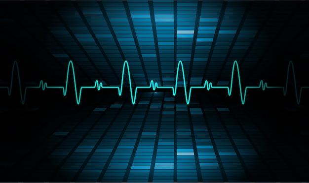 Blue heart pulsmonitor mit signal. herzschlag