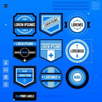 Blue label template-sammlung