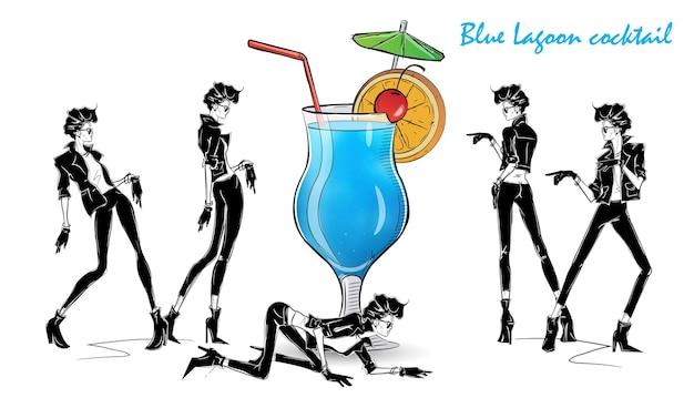 Blue lagoon-cocktail. modemädchen in der artskizze mit cocktail. vektorillustration