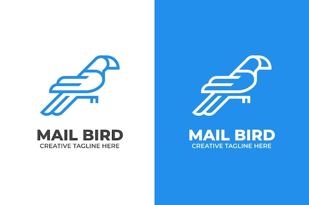 Blue mail bird delivery postman monoline logo