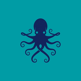 Blue octopus animal logo design