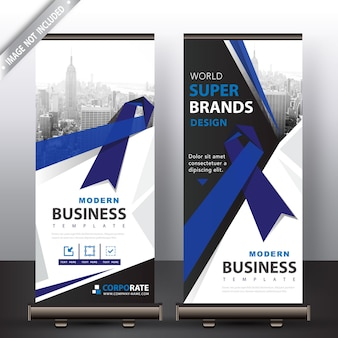 Blue ribbon roll-up-banner