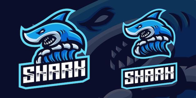 Blue shark maskottchen gaming logo vorlage für esports streamer facebook youtube