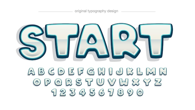 Blue stroke chrome cartoon typografie