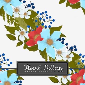 Blühen sie backrounds rotes, hellblaues, nahtloses muster der weißen blumen