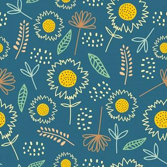 Blühen sie nahtlose botanische dekoration des pattengänseblümchens mit der netten gezeichneten hand