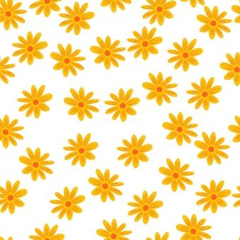 Blühen sie nahtloses blumenmuster mit gelben gänseblümchen-blumenformen. isolierter sommerdruck. weißer hintergrund. grafikdesign für packpapier und stofftexturen. vektor-illustration.