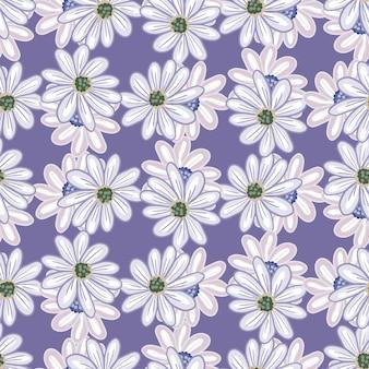 Blühen sie nahtloses blumenmuster mit zufälligen gänseblümchen-blumenformen. lila pastellhintergrund. einfacher stil. abbildung auf lager. vektordesign für textilien, stoffe, geschenkpapier, tapeten.