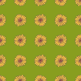 Blühen sie nahtloses muster mit konturierten sonnenblumengelbformen. grüner hintergrund. blumenornament. vektorillustration für saisonale textildrucke, stoffe, banner, hintergründe und tapeten.