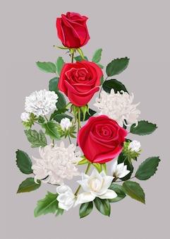 Blühen sie schönen blumenstrauß mit roten rosen, chrysantheme und magnolie illlustration