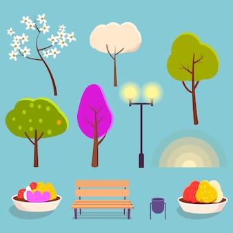 Blühende bäume, helle straßenbeleuchtung, blumenbeete mit büschen, mülltonne, holzbank und sonnenuntergangvektorillustrationen eingestellt.