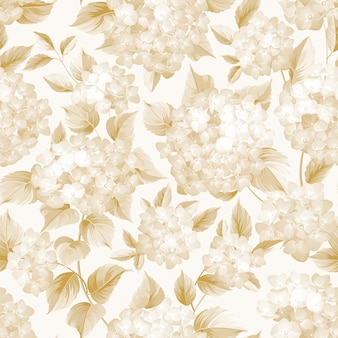 Blühende blume der goldenen hortensie auf weißem hintergrund.