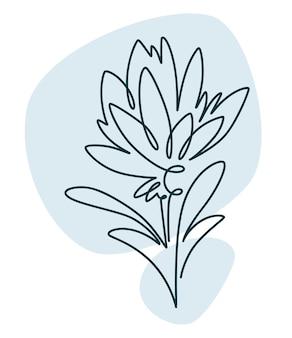 Blühende blume im abstrakten floradesign der linie kunst art