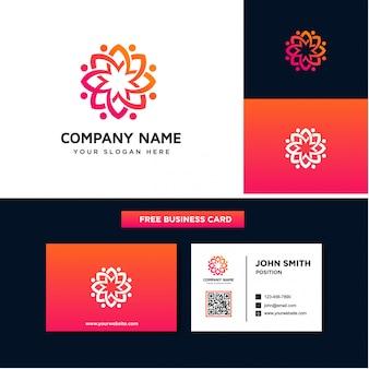 Blühende blume logo design templates