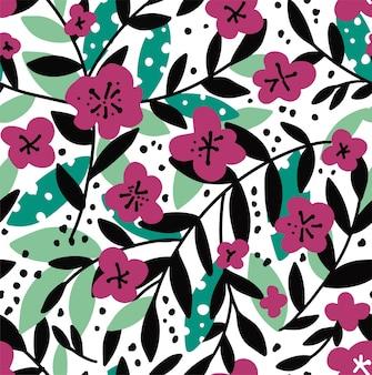 Blühende blumen, blühende flora mit laub auf zweigen. sommer- und frühlingsblühen des nahtlosen musters der pflanzen. lila vintage botanik, blumenstrauß und dekorative zweige vektor im flachen stil