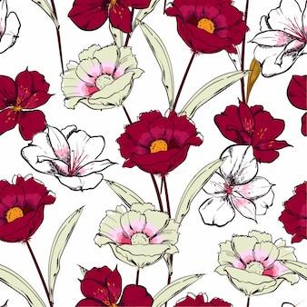 Blühende blumen der stilvollen hand gezeichneten skizze im nahtlosen muster der blumenwiederholung des gartens im vektordesign für mode,