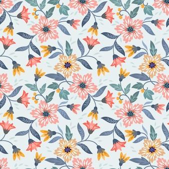 Blühende blumen-design in vintage-farbe nahtlose muster.