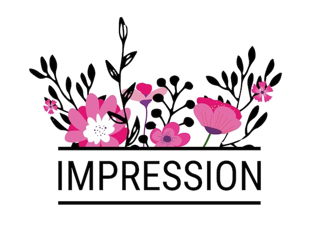 Blühende blumen mit eindruckinschrift, isolierte ikone blühender pflanzen mit blättern und text. minimalistische und romantische schrift, saisonale blüte. frühjahrs- oder sommersaison. vektor im flachen stil