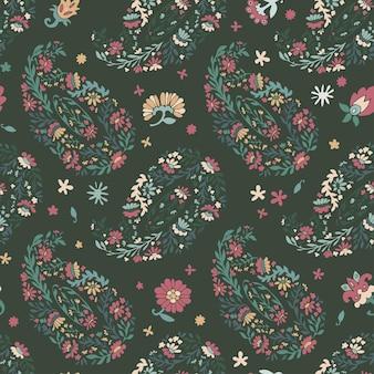 Blühende blumen und dekorative blätter, nahtloses blumenmuster mit laub und blüte. botanik abstrakte tapete oder hintergrund. zweige und blühen von pflanzen drucken. vektor im flachen stil